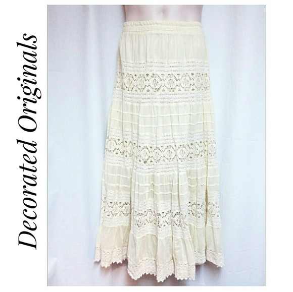 Decorated Originals Dresses & Skirts - 100% Cotton Lace and Gauze Tiered Maxi-Skirt XL